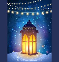 Christmas greeting card with vintage lantern vector