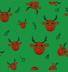 christmas seamless pattern with deer on green vector image