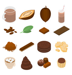 Cocoa icons set isometric style vector