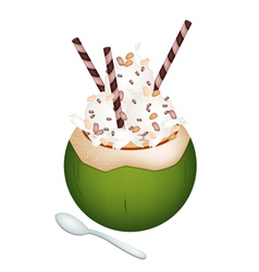 Coconut Ice Cream with Nuts and Wafer Rolls vector