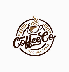 Coffee shop logo design template retro vector