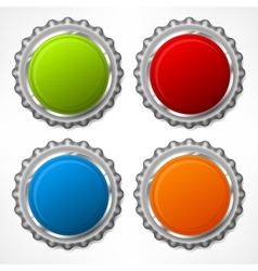 Color bottle cap on white vector image