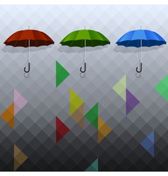 Colored umbrellas on geometric background vector image