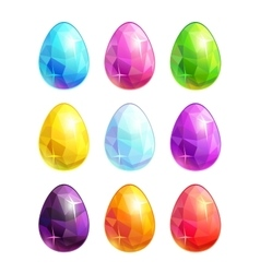 Colorful crystal eggs set vector image vector image