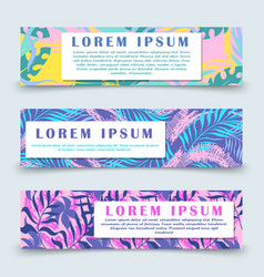 colorful hawaii floral banners template vector image