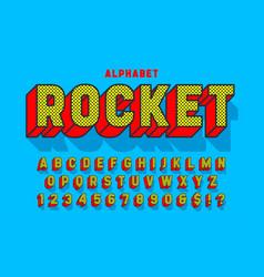 comic 3d display font design alphabet letters vector image