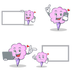 cotton candy character set with laptop phone board vector image