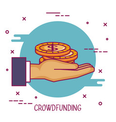 Crowdfunding hand holding money coin donation vector