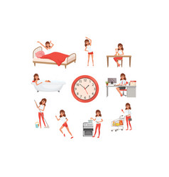 cute young girl in different situations day time vector image