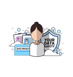 Data safety shield support agent woman portrait vector