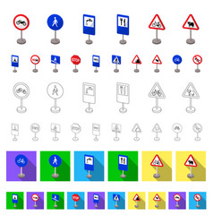 different types of road signs cartoon icons in set vector image
