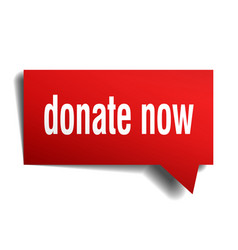 Donate now red 3d speech bubble vector