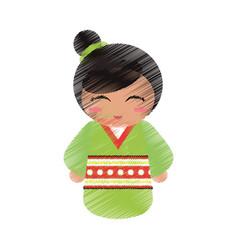drawing kokeshi doll geisha decorative vector image