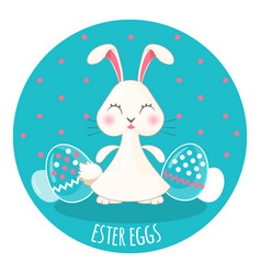 easter painted eggs and adorable chubby white vector image