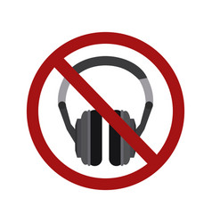 flat a stereo headphone in a prohibition sign vector image