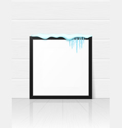 Frame with realistic snow and icicles beautiful vector