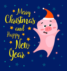 funny christmas pig on night background vector image