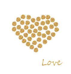 golden frame in the shape of a heart made of vector image