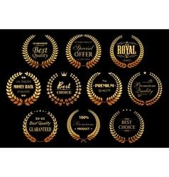 Golden laurel wreaths for quality guarantee design vector