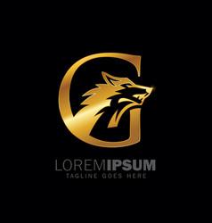 golden wolf initial monogram letter g logo sign vector image