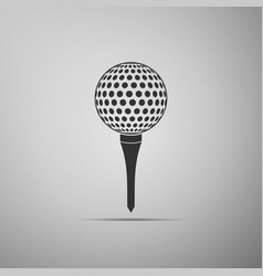 Golf ball on tee icon isolated on grey background vector