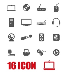 Grey computer icon set vector