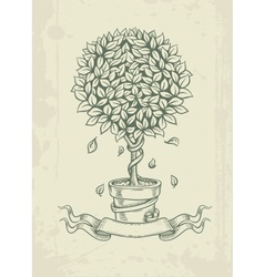Hand drawn vintage tree with vector image