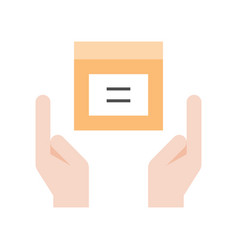 Hands holding parcel box icon delivery shopping vector