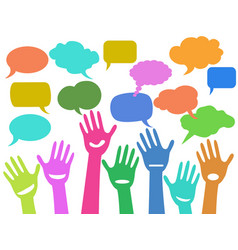 Hands with speech bubbles vector