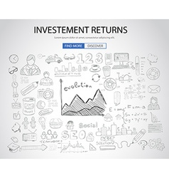 Investment Returns concept with Doodle design vector image