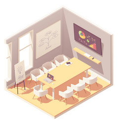 Isometric office conference room interior vector