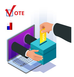 Isometric online voting and election concept vector
