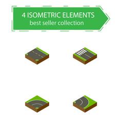 Isometric way set of downward strip asphalt and vector