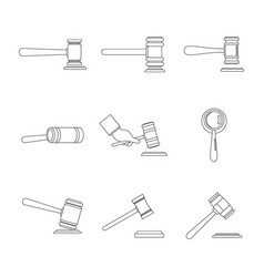 Judge hammer icons set outline style vector