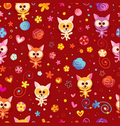 Kittens hearts and flowers seamless pattern vector