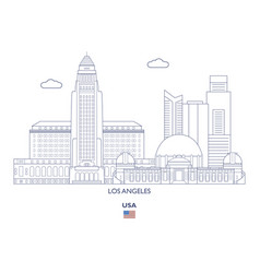 los angeles city skyline vector image