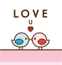 Love U Couple Tiny Bird vector
