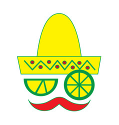 mexican face hat and mustache with slice lemon vector image
