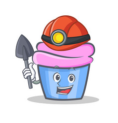 Miner cupcake character cartoon style vector