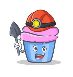 Miner cupcake character cartoon style vector