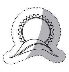 monochrome contour sticker with sun over hill vector image