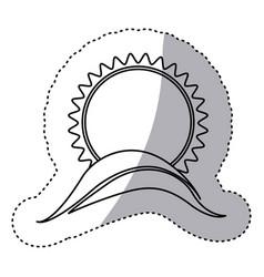Monochrome contour sticker with sun over hill vector