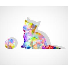 mosaic kitten vector image