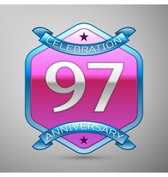 Ninety seven years anniversary celebration silver vector
