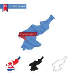 North korea blue low poly map with capital vector
