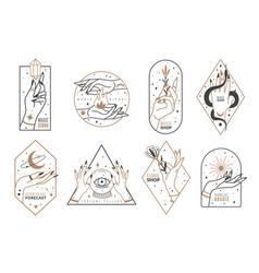 occult line emblems outline women hands vector image