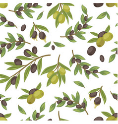 olives black and green twigs leaves and fruits of vector image