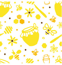 organic honey and apiary seamless pattern eco vector image