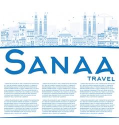 Outline Sanaa Yemen Skyline with Blue Buildings vector