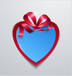paper heart with ribbon on white background vector image